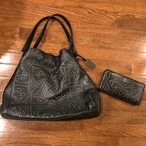 Coach Black Leather Studded Purse with Wallet